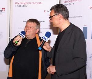 OB Kandidat P. Brückner im Interview mit Radio FREI [Foto: Roland Spitzer]